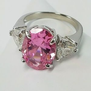 .925 STERLING Silver Pink Ice CZ 3 Stone Ring 6